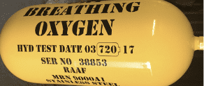 RAAF Aviation Oxygen Cylinder for Hydrostatic Pressure Testing