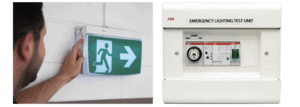 man testing exit and emergency lighting