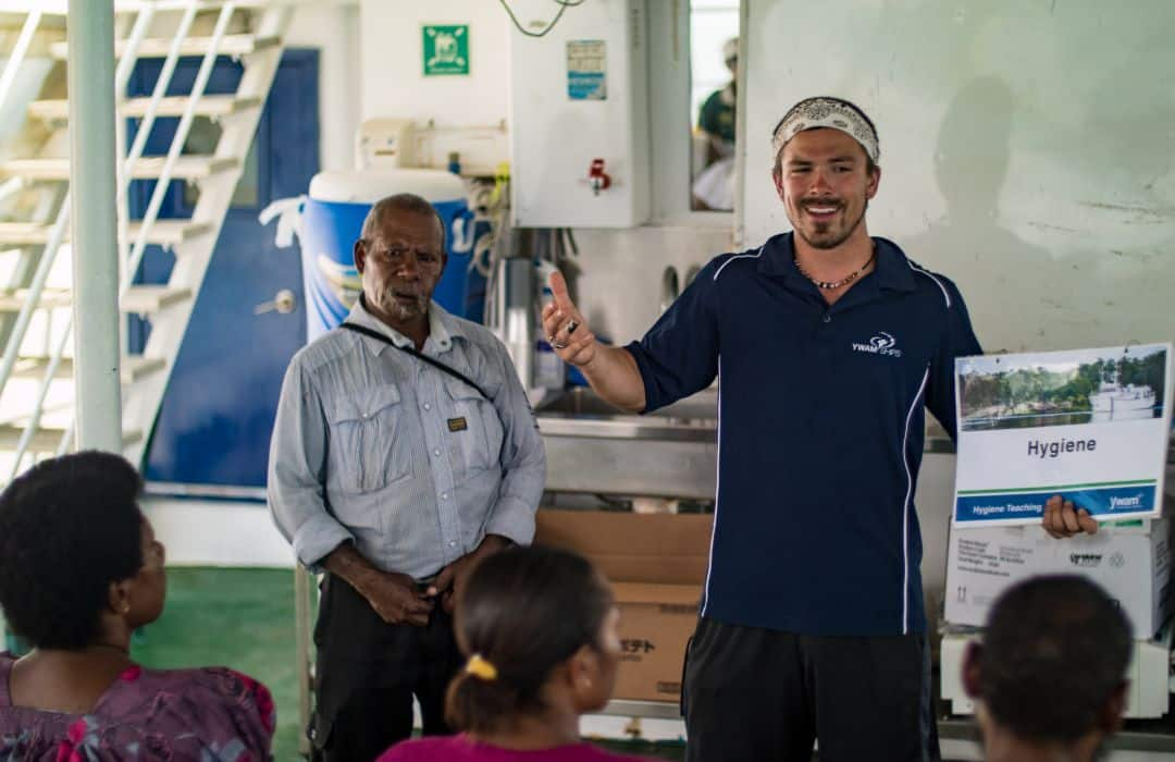 health classes on the medical ship with PNG locals