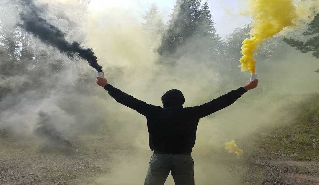 Photo Effect Man Holding Smoke Bombs